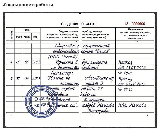 Образец записи об увольнении в трудовой книжке по собственному желанию помощь в получении ипотечного кредита в москве