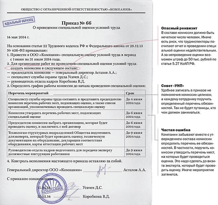 приказ о завершении специальной оценки условий труда