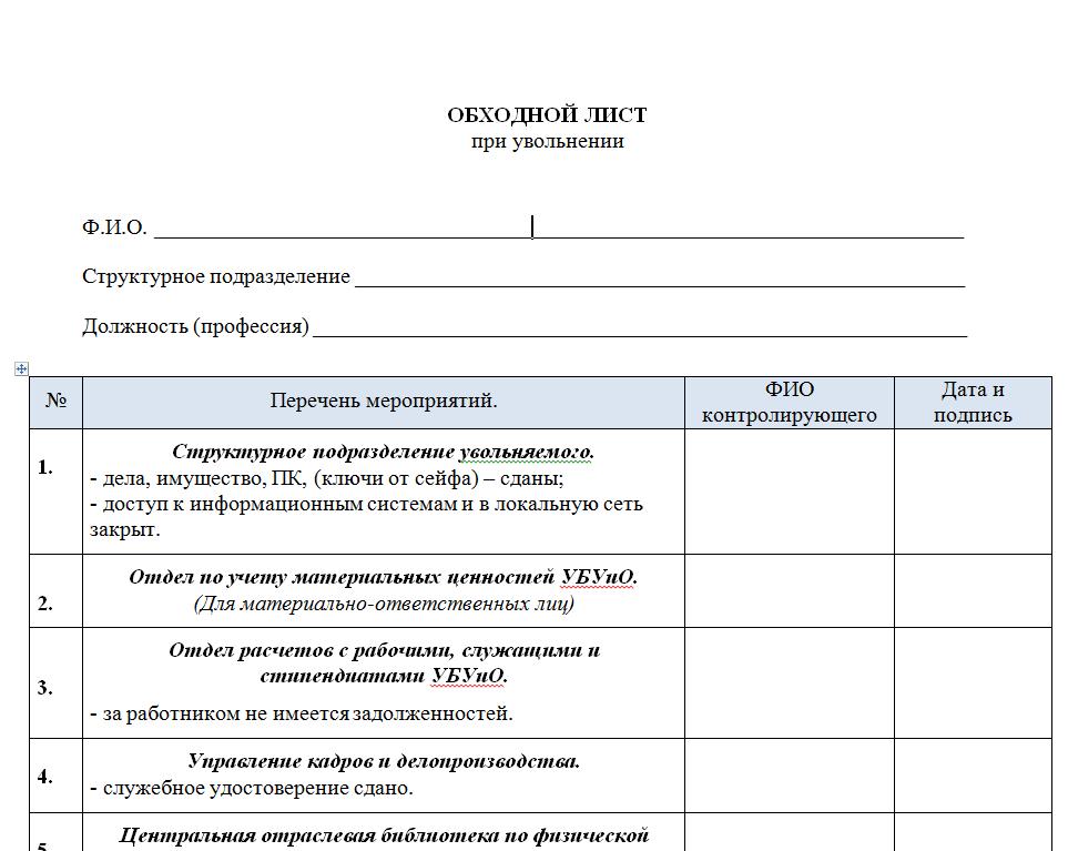 Обходной лист при увольнении бланк скачать бесплатно